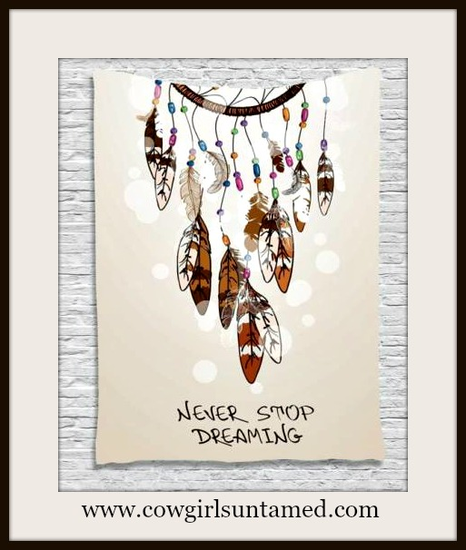 "COWGIRL STYLE COVERUP/WALL DECOR ""Never Stop Dreamimg Multi Color Dream Catcher Beige Boho Coverup"