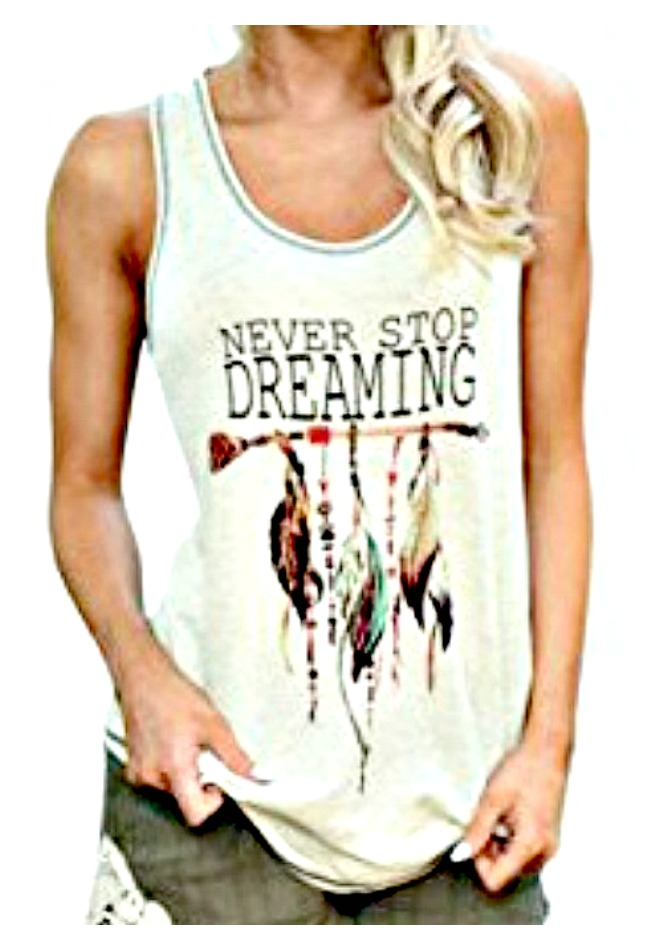 "COWGIRL ATTITUDE TANK TOP ""Never Stop Dreaming"" Arrow & Feather Creamy Tank Top"
