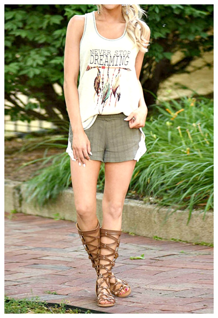 """COWGIRL ATTITUDE TANK TOP """"Never Stop Dreaming"""" Arrow & Feather Creamy Tank Top ONLY 1 LEFT! XL"""