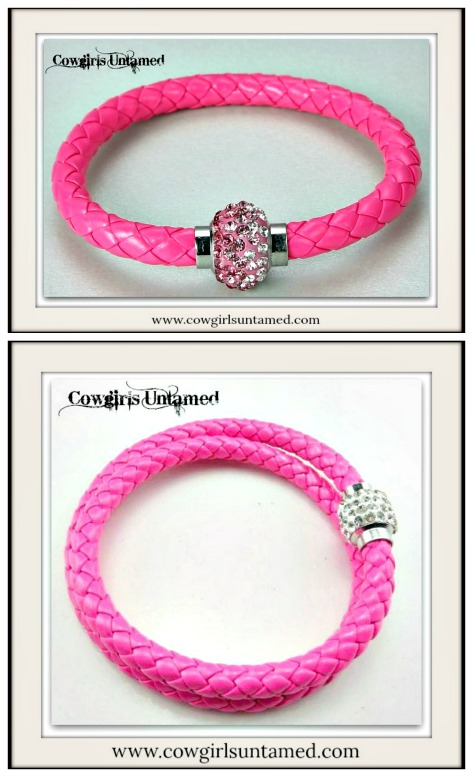 NO PLAIN JANE HERE BRACELET Hot Pink Rhinestone Silver Magnetic Closure on Pink Braided Leather Western Bracelet