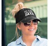 "GIRLS & BEER HAT Dark Grey ""Just A Girl Who Loves Beer"" Slightly Distressed Womens Criss-Cross Baseball Cap"
