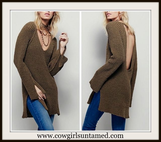 BOHEMIAN COWGIRL SWEATER Brown Open Back Long Pullover Sweater