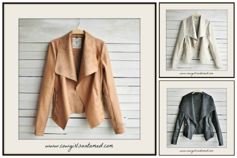 BOHO CHIC JACKET Faux Leather Open Drape Asymmetrical Jacket