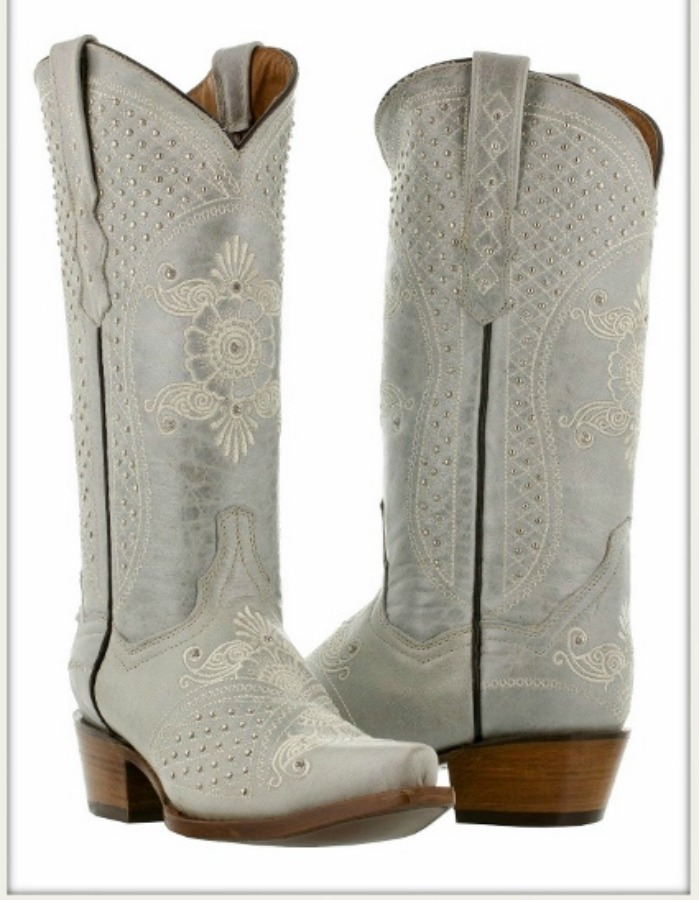 WILDFLOWER BOOTS Embroidered Floral Pattern Silver & Rhinestone Studded Metallic Pearl Leather Boots Sizes 5-11