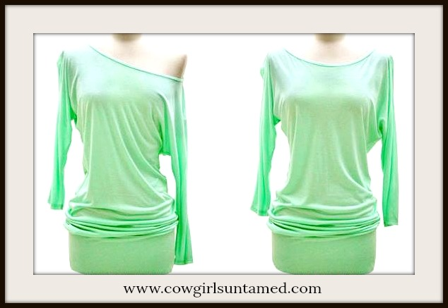COWGIRL STYLE TUNIC TOP Off the Shoulder Three Quarter Dolman Sleeve Banded Bottom Western Tunic Top