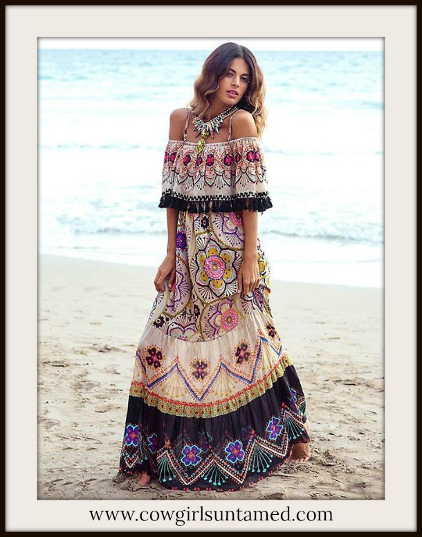 BOHEMIAN COWGIRL DRESS Off the Shoulder Flounce Tassel Trim Boho Print Maxi Dress