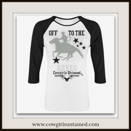 "RODEO REBEL TEE ""Off to the RODEO"" Horse Stars Black Baseball Style Top"