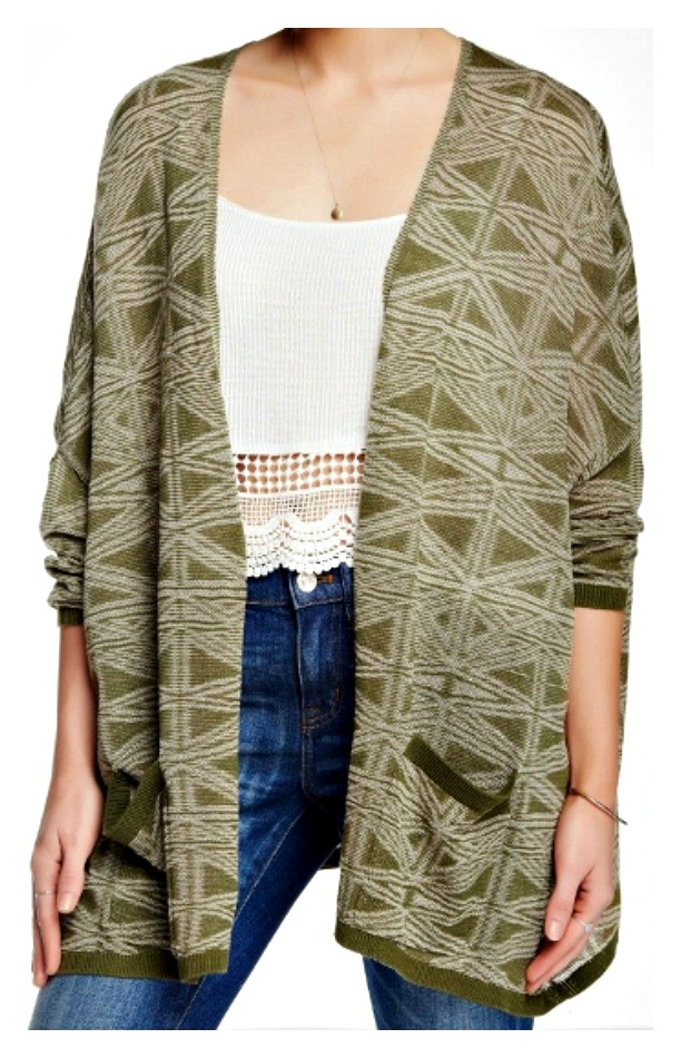 COWGIRL GYPSY SWEATER Olive Green Open Designer Boho Cardigan Sweater