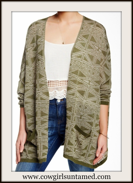COWGIRL GYPSY SWEATER Olive Green Open Designer Boho Cardigan Sweater