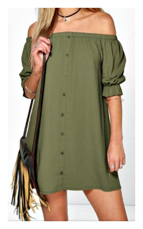 WILDFLOWER DRESS Olive Off the Shoulder Button Front Half Sleeve Dress