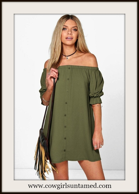 WILDFLOWER DRESS Olive Off the Shoulder Button Front Long Sleeve Dress/Tunic Top