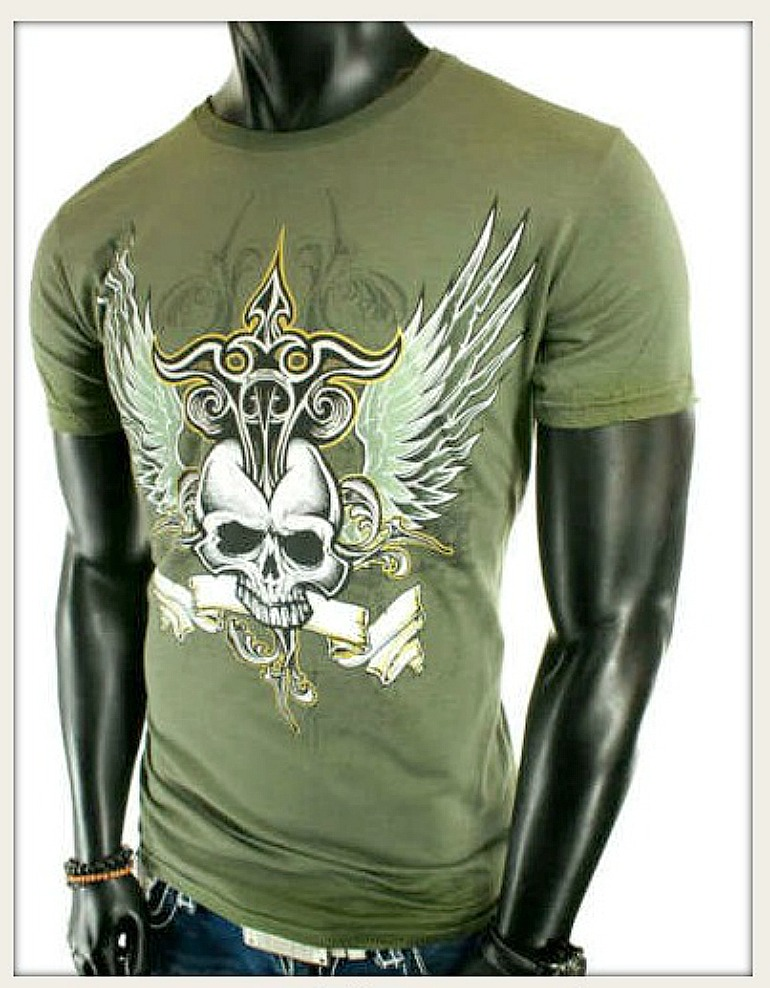 COWBOY STYLE TEE Army Green Winged Skull Tattoo T-Shirt