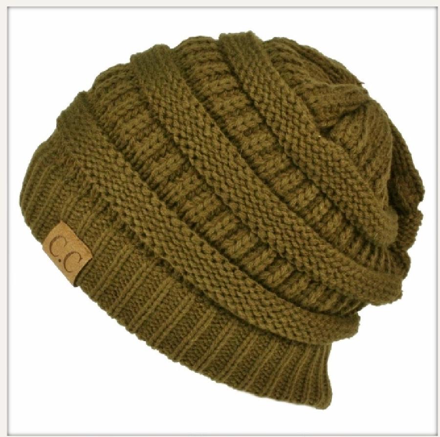 BEANIE CAP  Unisex Chunky Warm Knit Designer Winter Olive CC Beanie Cap Hat