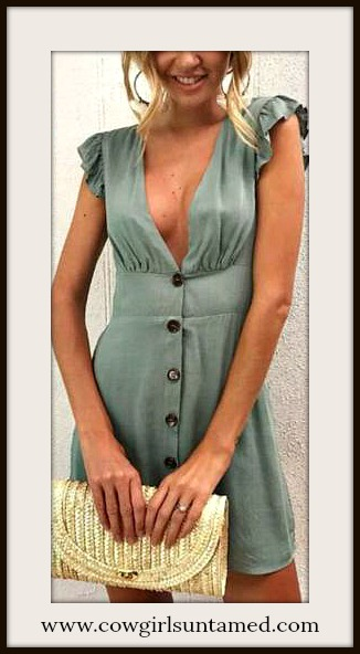 BOHO CHIC DRESS Ruffle Sleeveless Deep V Green Mini Dress