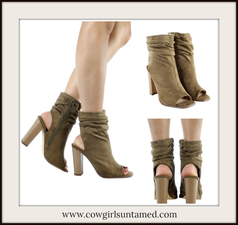 PERSUADED BOOTS Olive Green Suede Peep Toe & Cutout Heel Booties