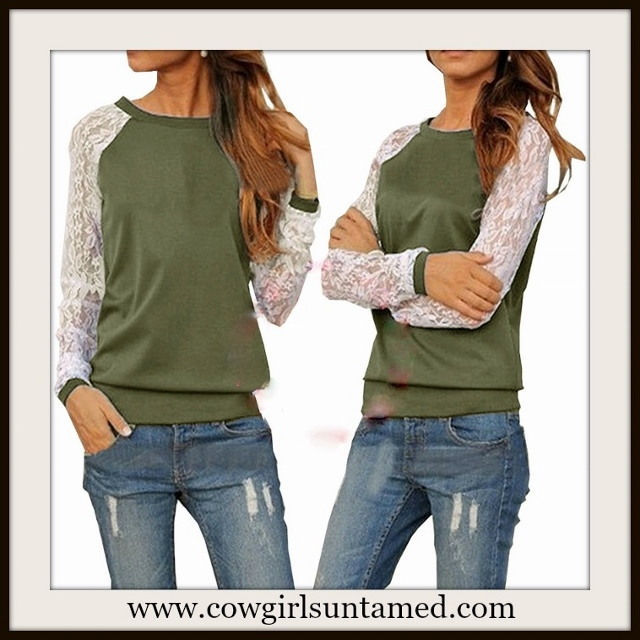 WILDFLOWER TOP White Lace Long Sleeve Olive Green Pullover Top