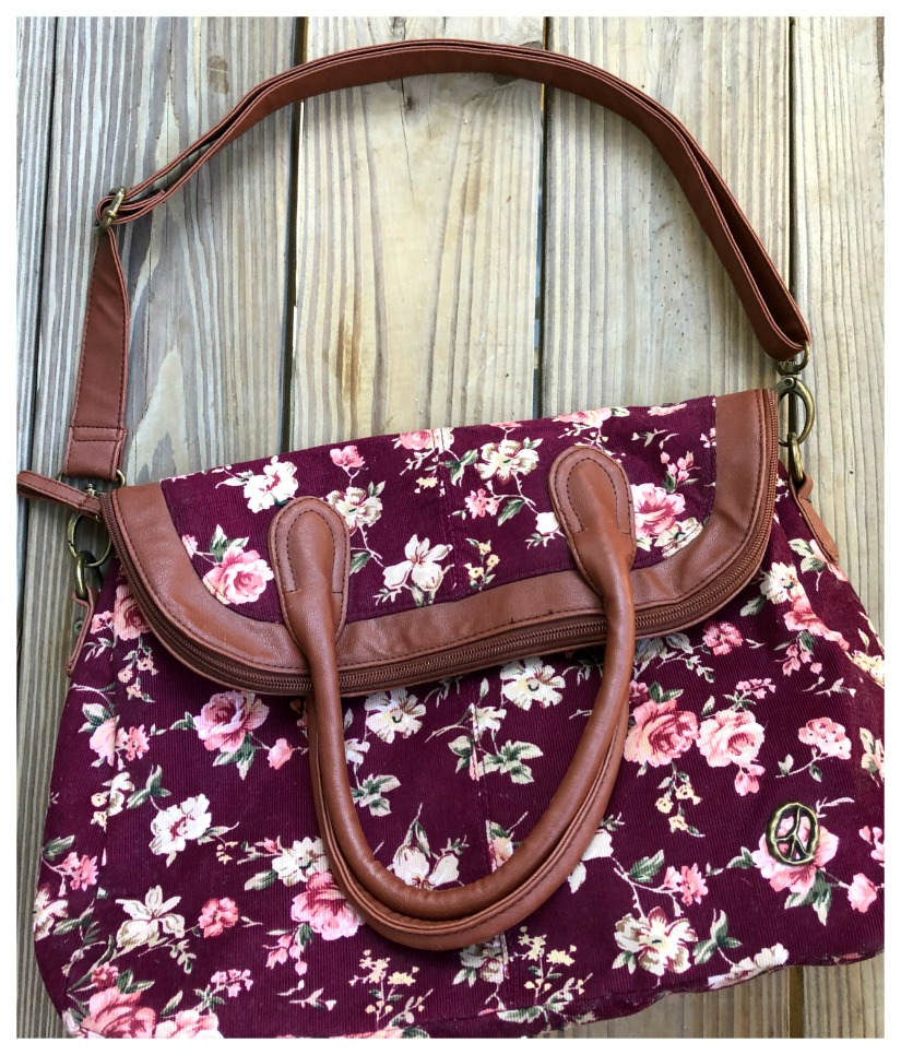 BOHO CHIC HANDBAG Pink Tan Green Floral on Burgundy Corduroy Boho Fold Over Tote