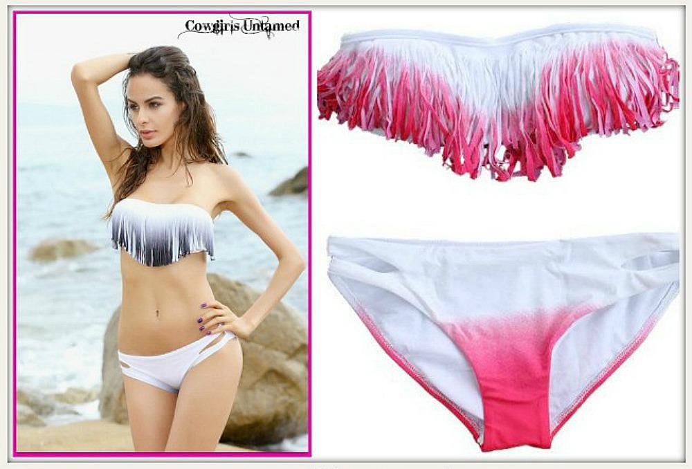 COWGIRL GYPSY BIKINI Ombre Strapless Top White Bikini Set  2 COLORS!