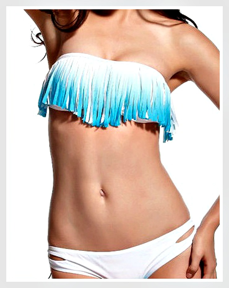 COWGIRL GYPSY BIKINI Aqua Ombre Fringe Strapless Top WHITE Bikini Set