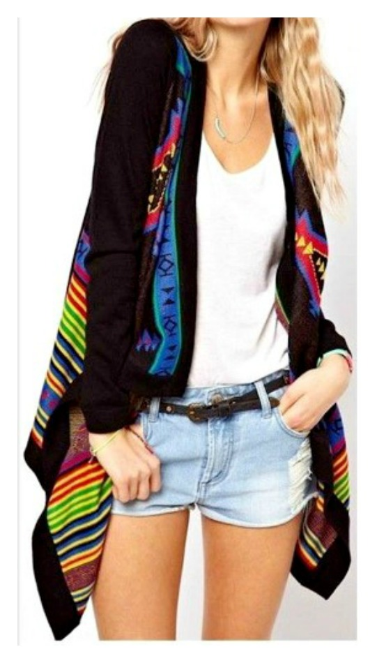 BOHEMIAN COWGIRL SWEATER Multi Color Aztec Long Sleeve High Low Hemline Black Boho Sweater LAST ONE! L