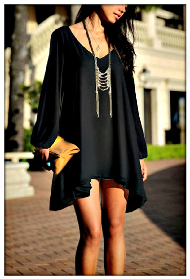 COWGIRL GYPSY DRESS Black Open Slit Sleeve High Low Mini Dress  ONLY 2 LEFT  L