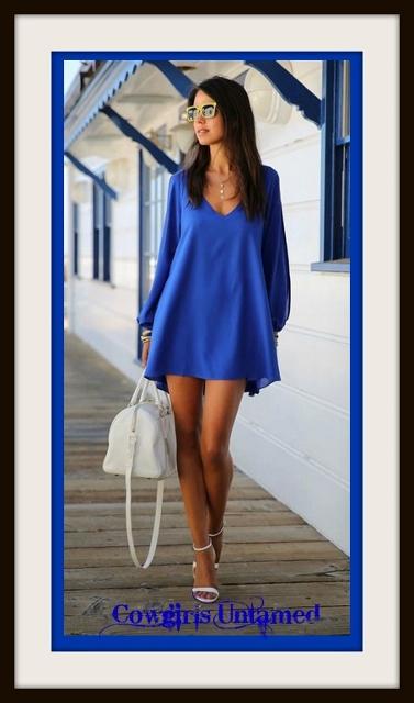 COWGIRL GYPSY DRESS Blue Open Slit Sleeve High Low Mini Dress / Tunic Top