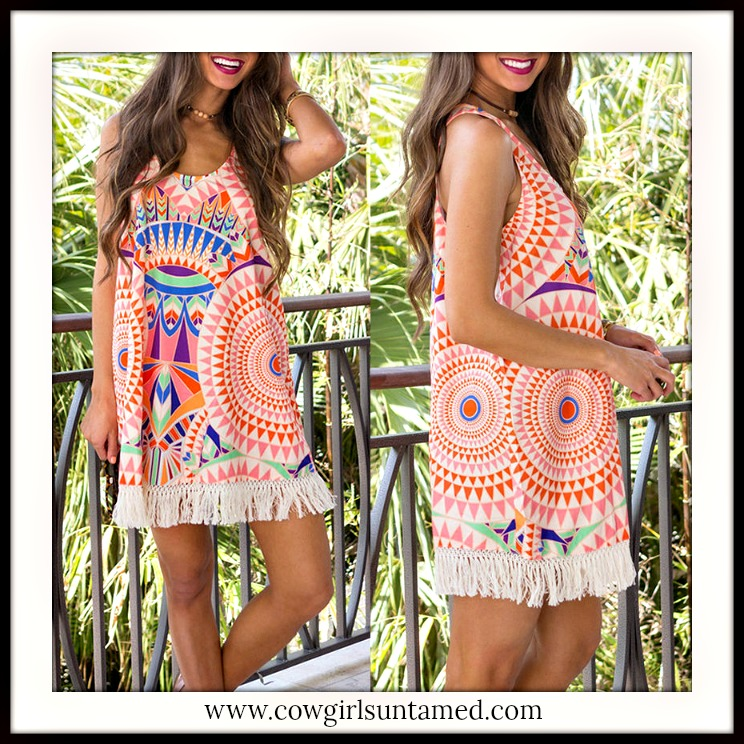BOHEMIAN COWGIRL DRESS White Aztec White Fringe Stretchy Racerback Boho Mini Dress