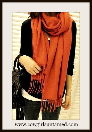 COWGIRL GLAM SCARF Burnt Orange CASHMERE Fringe Scarf / Shawl / Wrap