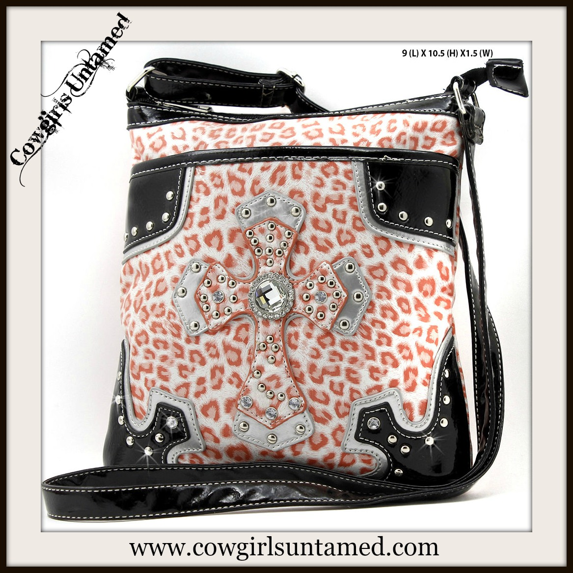 COWGIRL GLAM MESSENGER BAG Rhinestone Studded Cross on Orange Cheetah Leather Bag