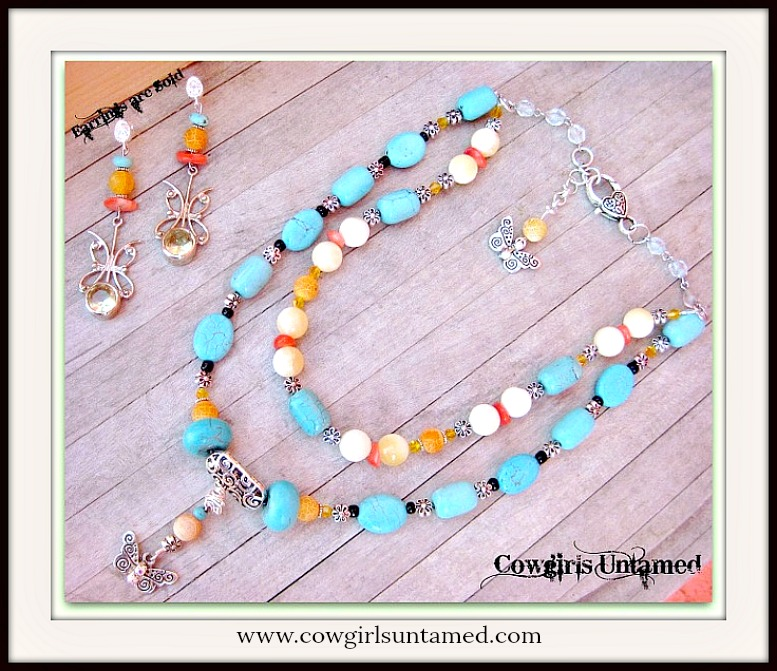 COUNTRY COWGIRL NECKLACE Butterfly on Turquoise Orange Gemstone Beaded Necklace