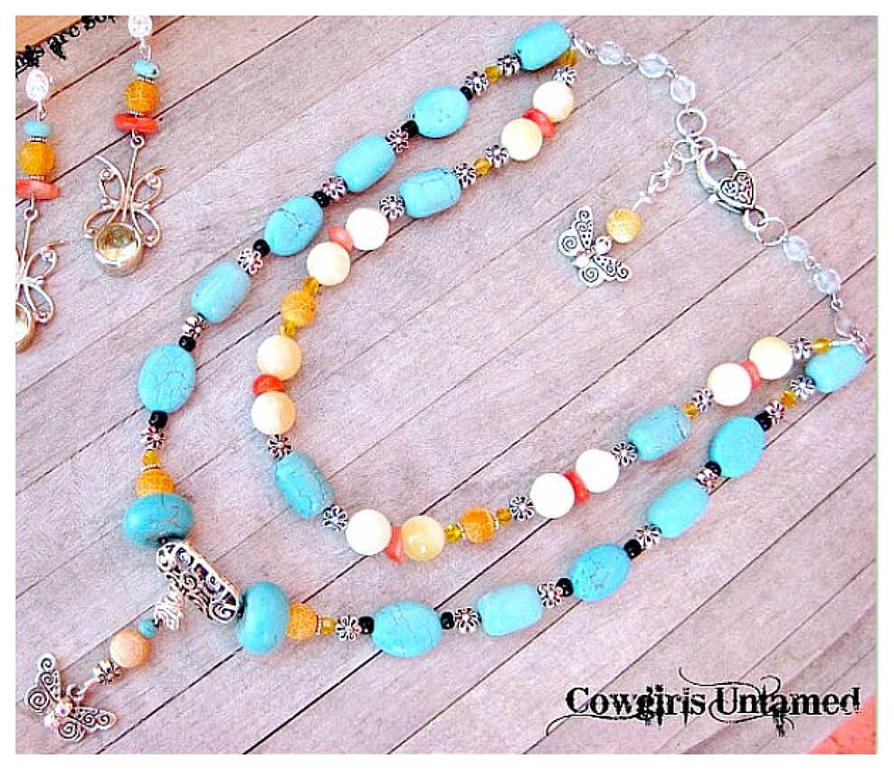 COUNTRY COWGIRL NECKLACE Custom Butterfly on Turquoise Orange Gemstone Beaded Necklace