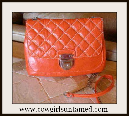 COWGIRL GLAM BAG Orange Quilted Chain and Faux Leather Strap Shoulder Bag