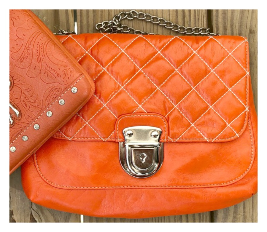 GOING GLAM BAG Orange Quilted Chain and Silver Chain Strap Shoulder Bag