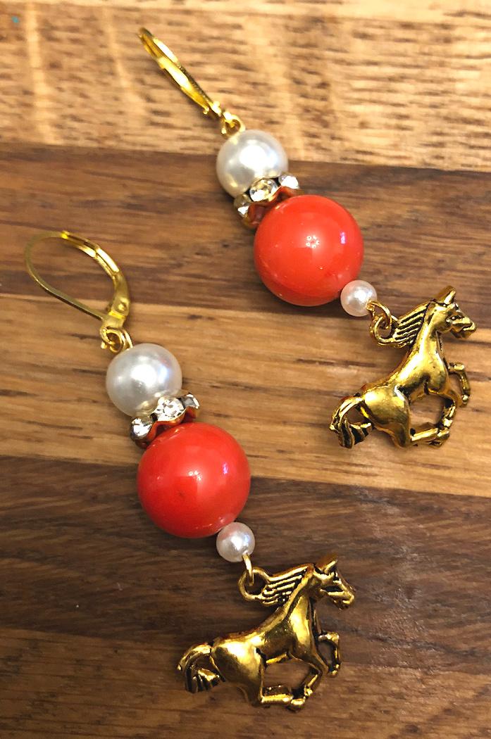 THE TESS EARRINGS Handmade Golden Horse Charm Orange Gemstone Pearl Rhinestone Beaded Dangle Earrings