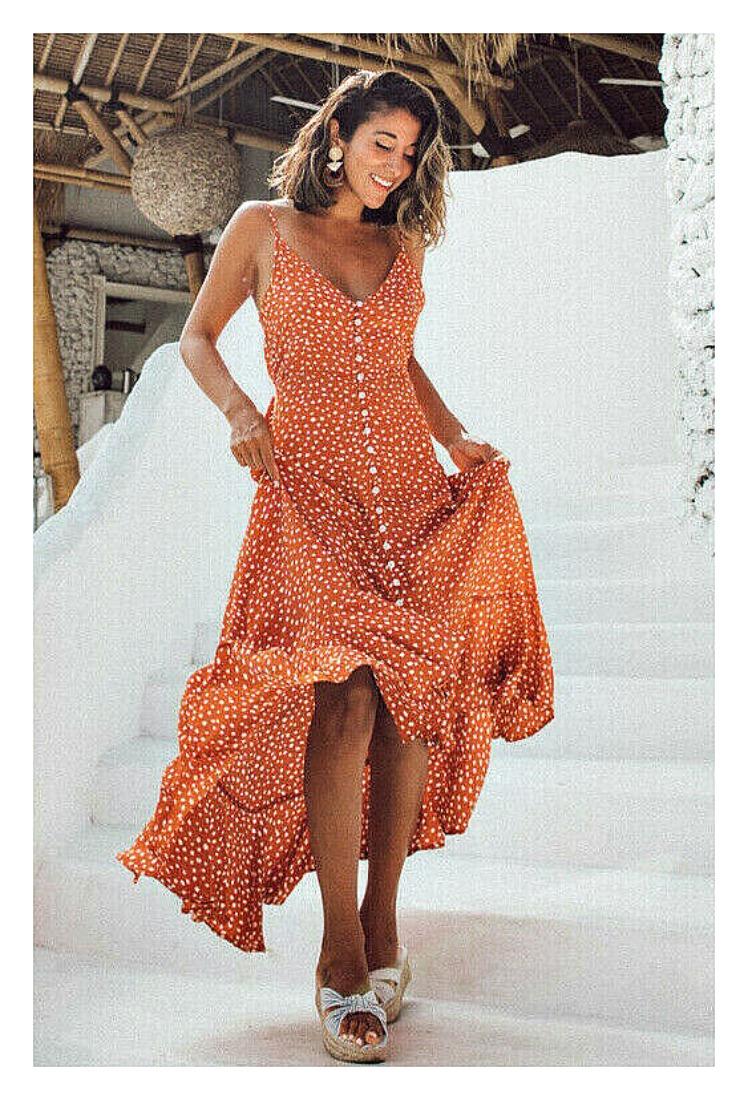 THE MIRANDA DRESS White Print Sleeveless Orange High Low Ruffle Hem Long Boho Dress
