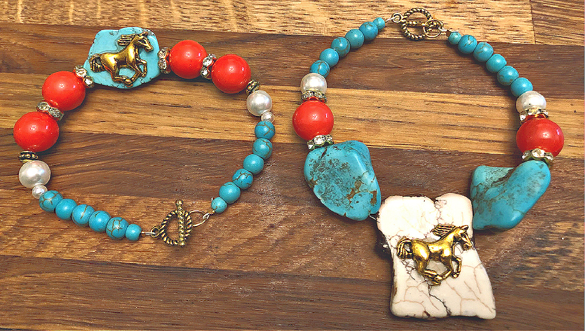 THE TESS BRACELET Handmade Golden Horse Orange Gemstone Turquoise Pearl Rhinestone Beaded Bracelet 2 STYLES