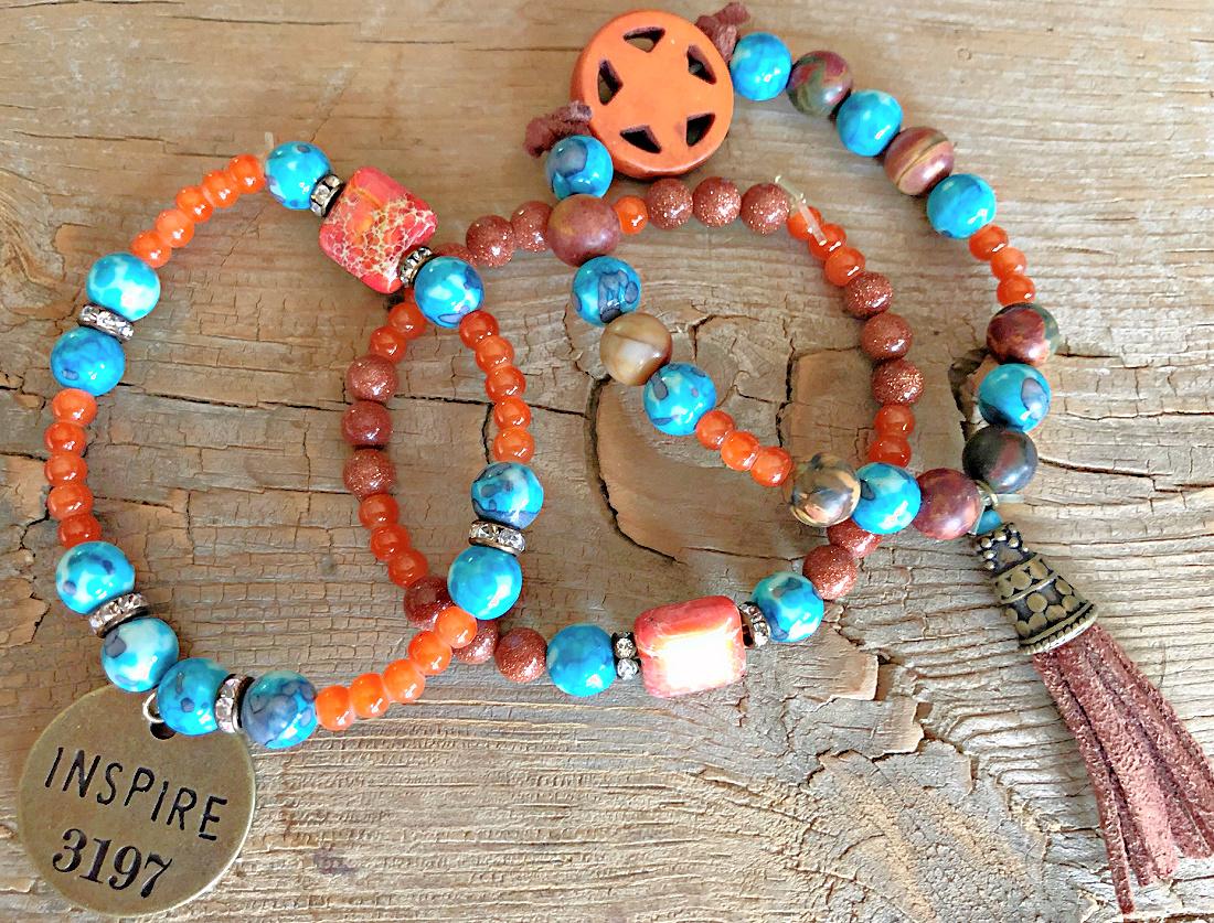 "INSPIRE BRACELET SET Handmade ""Inspire""  Orange Turquoise Star Gemstone N' Brown Charm Stretch Bracelet 3 Piece Set"