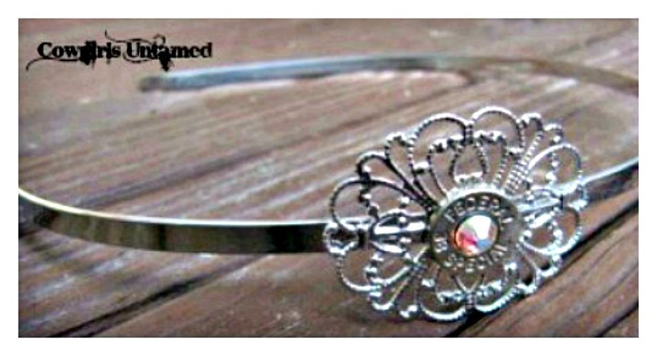 COWGIRL OUTLAW HEADBAND 38 Special Silver Filigree with Swarovski Crystal Accents Small Thin Cut Western Headband