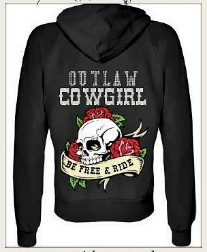 "OUTLAW COWGIRL SWEATSHIRT ""OUTLAW COWGIRL"" Silver Script Rose N Skull Tattoo ""Be Free & Ride"" Hoodie Sweatshirt"