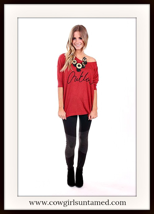 "BADASS COWGIRL SWEATER Red ""Outlaw"" 3/4 Sleeve Loose Fit RED Western Sweater"