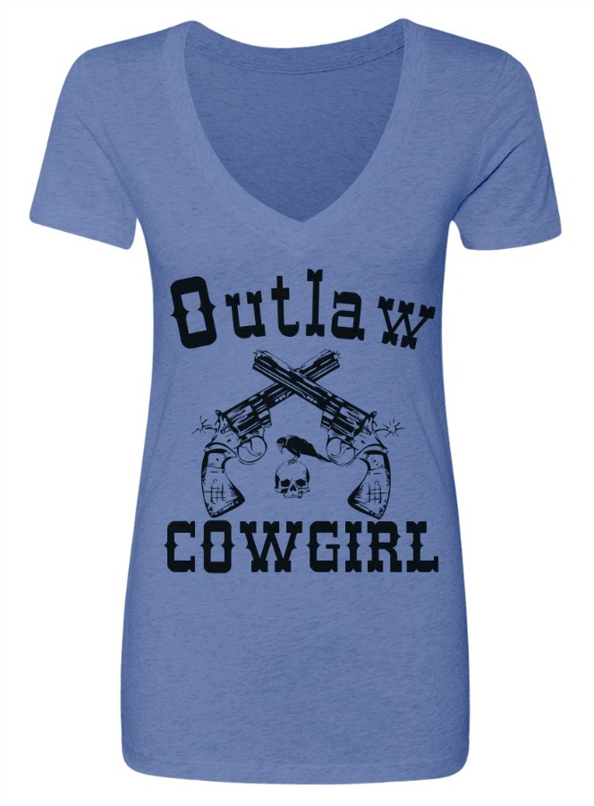 8119d5fe7 COWGIRL ATTITUDE Outlaw Cowgirl with Sixshooter N Skull with Crow ...