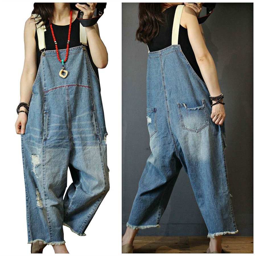 THE SAMANTHA OVERALLS Red Embroidered Distressed Light Wash Oversized Cropped Jean Overalls