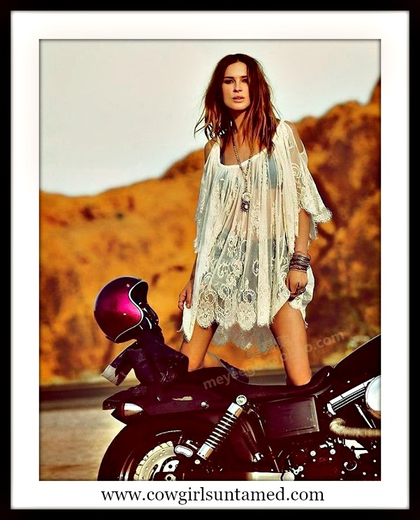 COWGIRL GYPSY TOP Open Shoulder Oversized Sheer Lace Boho Cover Up/ Top 2 COLORS