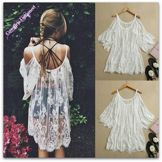 31681d6935f Open Shoulder Oversized Sheer Lace Cover Up Top Mini Dress, lace ...
