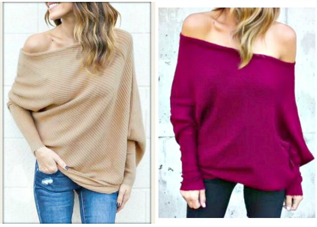 WILDFLOWER SWEATER Beige or Burgundy Oversized Off the Shoulder Long Sleeve Sweater 3 LEFT