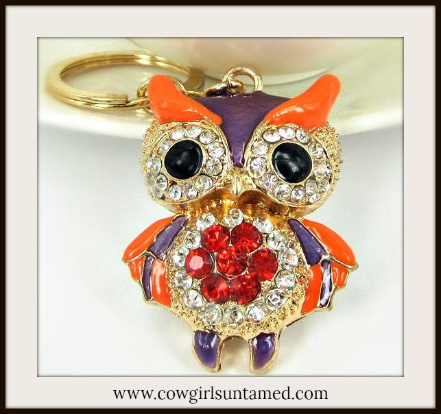 COUNTRY COWGIRL KEYCHAIN Golden Purple Rhinestone Owl Keychain