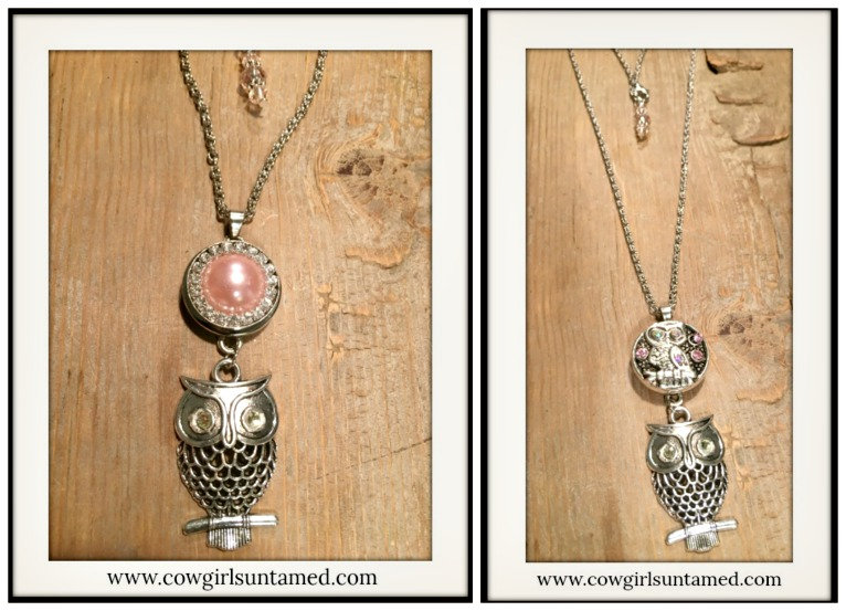 COWGIRL STYLE NECKLACE Crystal Snap Charm on Owl Pendant Silver Chain Necklace