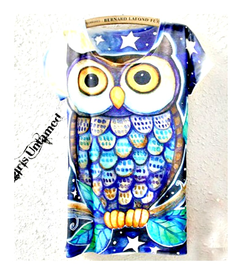 HOOT HOOT TOP Blue Aqua Owl Scoop Neck Short Sleeve Tee T-shirt LAST ONE M/L