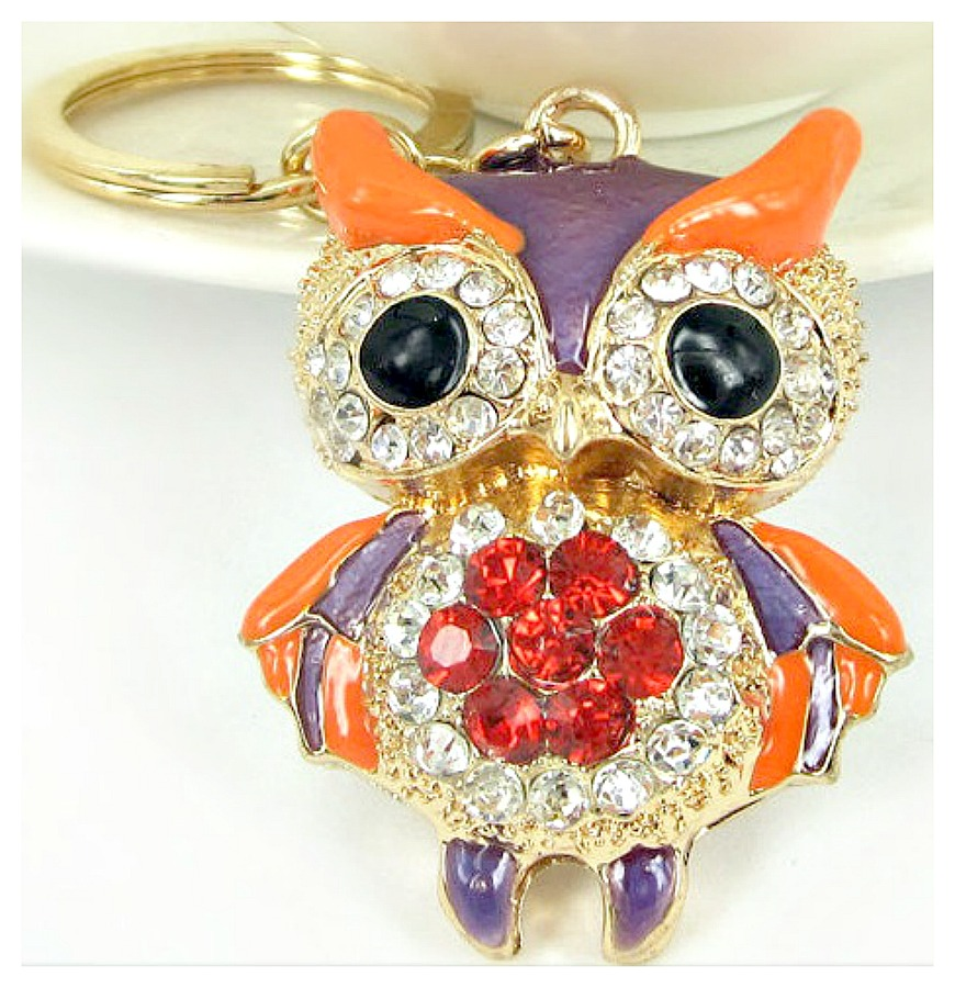 COUNTRY COWGIRL KEYCHAIN Golden Purple Rhinestone Owl Keychain