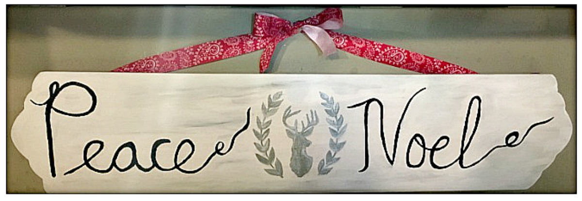 "COWGIRL CHRISTMAS DECOR Handmade ""Peace"" & ""Noel""Silver Deer Christmas Sign"